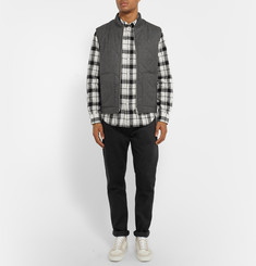 Club Monaco Slim-Fit Checked Linen and Cotton-Blend Shirt