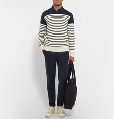 J.Crew Slim-Fit Striped Cotton and Cashmere-Blend Sweater