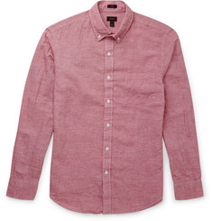 J.Crew Houndstooth Linen and Cotton-Blend Shirt