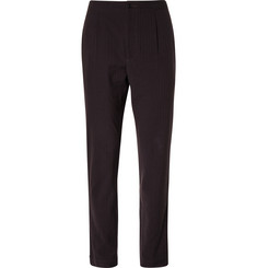 Camoshita - Slim-Fit Striped Wool and Cotton-Blend Seersucker Trousers