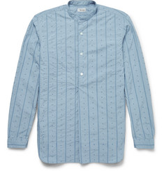 Camoshita Grandad-Collar Embroidered Cotton-Poplin Shirt