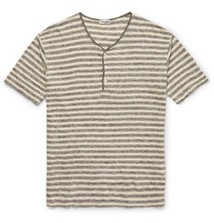 Camoshita - Slim-Fit Striped Linen-Jersey Henley T-Shirt