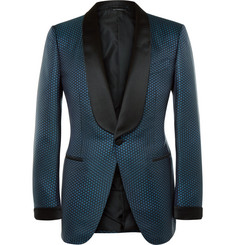 Tom Ford - Blue Slim-Fit Silk and Cotton-Blend Jacquard Tuxedo Jacket