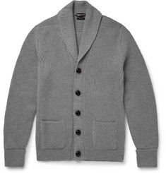 Tom Ford - Shawl-Collar Ribbed Merino Wool Cardigan