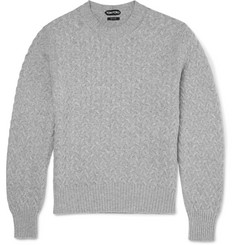 Tom Ford Slim-Fit Cable-Knit Cotton and Cashmere-Blend Sweater