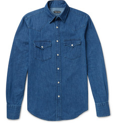 Tom Ford Slim-Fit Washed Cotton-Chambray Western Shirt