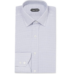Tom Ford Grey Slim-Fit Houndstooth Cotton Shirt