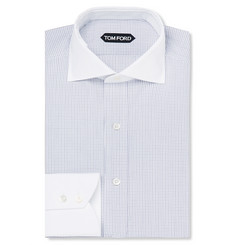 Tom Ford Slim-Fit Contrast-Collar Checked Cotton shirt