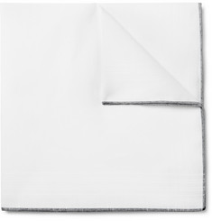 Tom Ford Contrast-Tipped Linen and Cotton-Blend Pocket Square