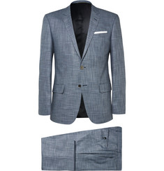 Hugo Boss Blue Hutson Gander Slim-Fit Slub Canvas Suit