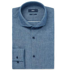 Hugo Boss - Slim-Fit Cutaway-Collar Cotton-Chambray Shirt
