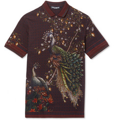 Dolce & Gabbana - Slim-Fit Peacock-Print Cotton-Piqué Polo Shirt