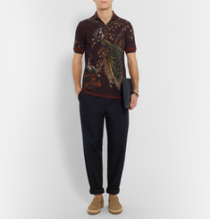 Dolce & Gabbana Slim-Fit Peacock-Print Cotton-Piqué Polo Shirt