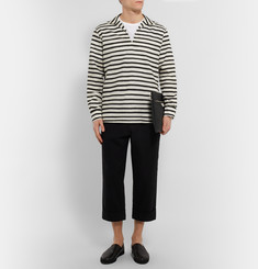 Dolce & Gabbana Striped Open-Collar Linen and Cotton-Blend Shirt