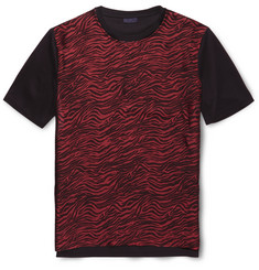 Lanvin Zebra-Print Satin and Cotton T-Shirt