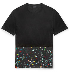 Lanvin - Printed Silk-Panelled Cotton T-Shirt