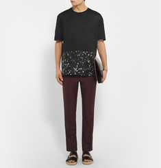 Lanvin Printed Silk-Panelled Cotton T-Shirt
