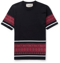 Casely-Hayford Bronson Print-Trimmed Cotton T-Shirt
