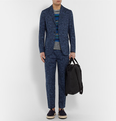 Casely-Hayford - Blue Rowley Tapered Mottled Cotton Suit Trousers