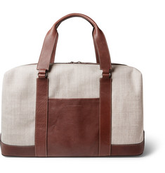 Brunello Cucinelli Textured-Leather and Canvas Holdall