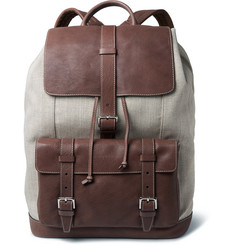 Brunello Cucinelli Canvas and Textured-Leather Backpack
