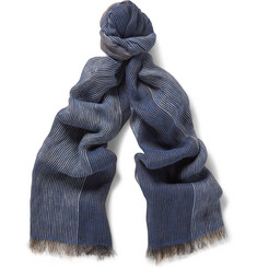 Brunello Cucinelli Degradé Striped Linen Scarf
