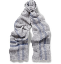 Brunello Cucinelli Striped Linen-Gauze Scarf