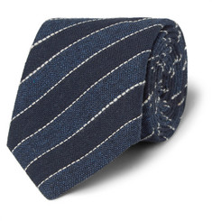 Brunello Cucinelli Navy Striped Cotton and Linen-Blend Tie