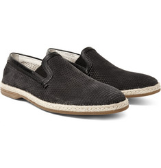 Dolce & Gabbana - Raffia and Leather-Trimmed Perforated Nubuck Espadrilles