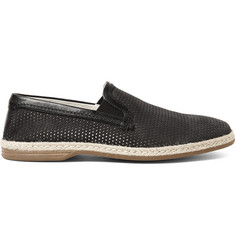 Dolce & Gabbana Raffia and Leather-Trimmed Perforated Nubuck Espadrilles