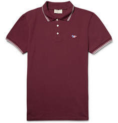 Maison Kitsuné Slim-Fit Contrast-Tipped Cotton-Piqué Polo Shirt