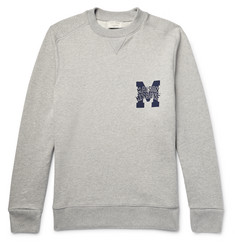 Maison Kitsuné - Embroidered Mélange Fleece-Back Cotton-Jersey Sweatshirt