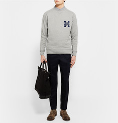 Maison Kitsuné Embroidered Mélange Fleece-Back Cotton-Jersey Sweatshirt