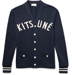 Maison Kitsuné - Appliquéd Fleece-Back Cotton-Jersey Cardigan