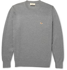Maison Kitsuné Textured Knit-Panelled Merino Wool Sweater