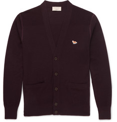 Maison Kitsuné Textured Knit-Panelled Merino Wool Cardigan