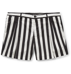 Dolce & Gabbana Striped Mid-Length Cotton-Blend Swim Shorts