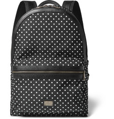 Dolce & Gabbana Polka-Dot Leather-Trimmed Satin Backpack