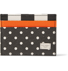 Dolce & Gabbana Polka-Dot Grained-Leather Cardholder