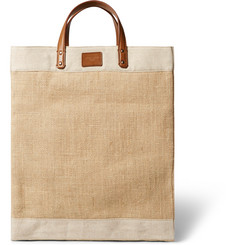 Dolce & Gabbana Leather and Canvas-Trimmed Raffia Tote Bag