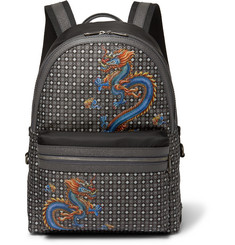 Dolce & Gabbana Dragon-Print Leather-Trimmed Shell Backpack