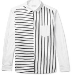 Tomorrowland Striped Tricot and Cotton-Poplin Shirt