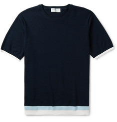 Tomorrowland Stripe-Trimmed Knitted Cotton T-Shirt