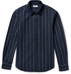 Tomorrowland - Knitted-Collar Striped Cotton-Seersucker Overshirt