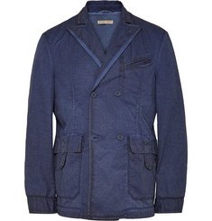 Bottega Veneta Blue Slim-Fit Double-Breasted Cotton Blazer