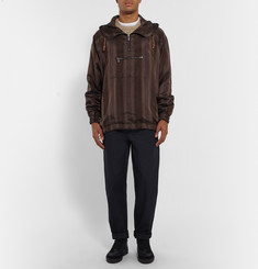 Bottega Veneta Striped Satin Hooded Jacket