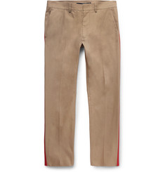 Valentino Slim-Fit Stripe-Trimmed Cotton-Blend Trousers