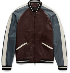 Valentino Colour-Block Leather Varsity Jacket