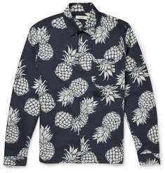 Valentino - Embroidered Pineapple-Print Cotton Shirt