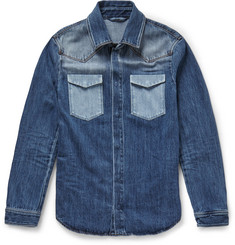 Valentino Slim-Fit Contrast-Pocket Denim Shirt